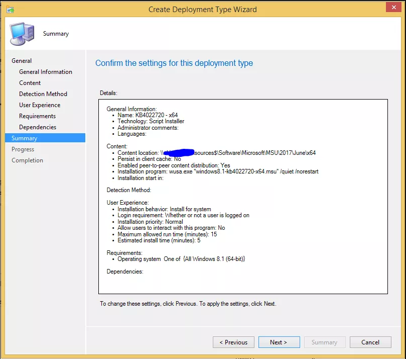 ConfigMgr: How to deploy a MSU using PowerShell as the